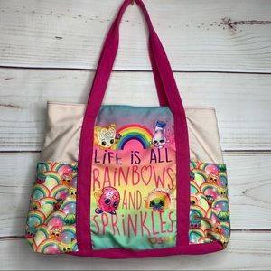 SHOPKINS Rainbow and Pink Tote Bag